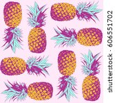 seamless pattern. pineapple... | Shutterstock .eps vector #606551702