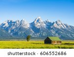 barn in early morning at grand... | Shutterstock . vector #606552686