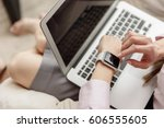woman looking at watch during... | Shutterstock . vector #606555605