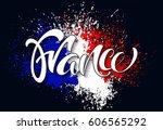 hand written france.... | Shutterstock .eps vector #606565292