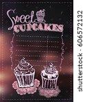 sweet cupcakes menu list  empty ... | Shutterstock .eps vector #606572132