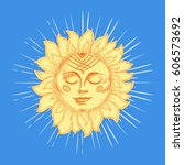 hand drawn sun with face and... | Shutterstock .eps vector #606573692