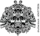 gothic coat of arms with skull  ... | Shutterstock .eps vector #606573836
