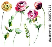 set of roses and peonies... | Shutterstock . vector #606579236
