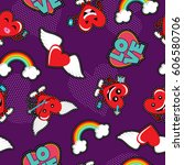 valentines day seamless pattern ... | Shutterstock .eps vector #606580706