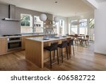 open modern kitchen design | Shutterstock . vector #606582722