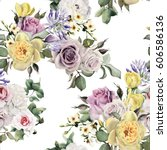 seamless floral pattern with... | Shutterstock . vector #606586136