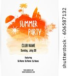 party poster template for... | Shutterstock .eps vector #606587132