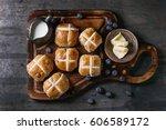 hot cross buns on wooden... | Shutterstock . vector #606589172