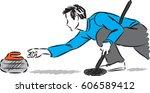 man curling player vector...   Shutterstock .eps vector #606589412