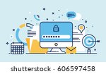 flat line design website banner ... | Shutterstock .eps vector #606597458