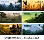 vector set of panorams... | Shutterstock .eps vector #606598565