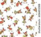 seamless cartoon reindeer | Shutterstock .eps vector #606601088