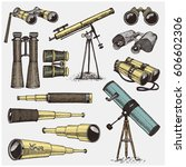 set of astronomical instruments ... | Shutterstock .eps vector #606602306