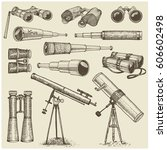 set of astronomical instruments ... | Shutterstock .eps vector #606602498