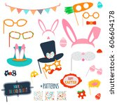 easter photo booth and... | Shutterstock .eps vector #606604178