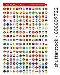 flat round icons of all world... | Shutterstock .eps vector #606609722