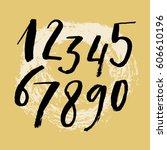vector ink numbers. watercolor... | Shutterstock .eps vector #606610196
