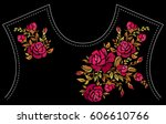 ethnic embroidery rose flowers... | Shutterstock .eps vector #606610766