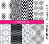 set of eight different... | Shutterstock .eps vector #606612476