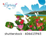 outline of a bouquet of tulips...   Shutterstock .eps vector #606615965