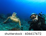 scuba diving selfie with... | Shutterstock . vector #606617672