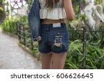 beautiful woman walking in the... | Shutterstock . vector #606626645