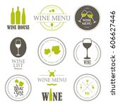 vector illustration with wine... | Shutterstock .eps vector #606627446