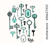 vector set of hand drawn... | Shutterstock .eps vector #606627452