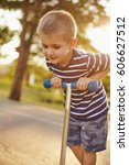 small boy riding on the... | Shutterstock . vector #606627512