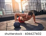young male fitness model... | Shutterstock . vector #606627602
