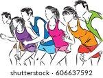 group of runners illustration | Shutterstock .eps vector #606637592