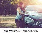 woman traveler walks see the... | Shutterstock . vector #606638486