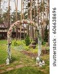 wood wedding decor | Shutterstock . vector #606638696