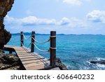 Wood Bridge Sea And Mountain