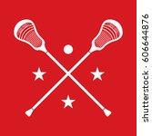 a set of crossed lacrosse... | Shutterstock .eps vector #606644876