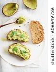 healthy breakfast toast with...   Shutterstock . vector #606649736