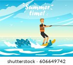 happy people on vacation.... | Shutterstock .eps vector #606649742