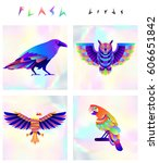 set of multicolored bird icons... | Shutterstock .eps vector #606651842