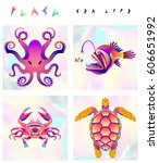 set of multicolored fish and... | Shutterstock .eps vector #606651992