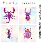 set of multicolored insects... | Shutterstock .eps vector #606652256