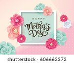 mother's day greeting card with ... | Shutterstock .eps vector #606662372