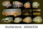3d Vintage Bus Set (vector) - stock vector