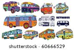 Colorful Vintage Bus Set (vector) - stock vector
