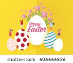 happy easter day concept on... | Shutterstock .eps vector #606666836