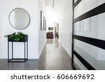 contemporary home entry hall... | Shutterstock . vector #606669692