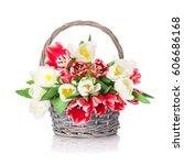 Colorful Tulips Bouquet Basket. ...