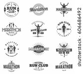 retro run club badges and... | Shutterstock .eps vector #606686492