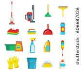 household cleaning tools and... | Shutterstock .eps vector #606687026