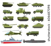 set of the military enginery or ... | Shutterstock .eps vector #606687098